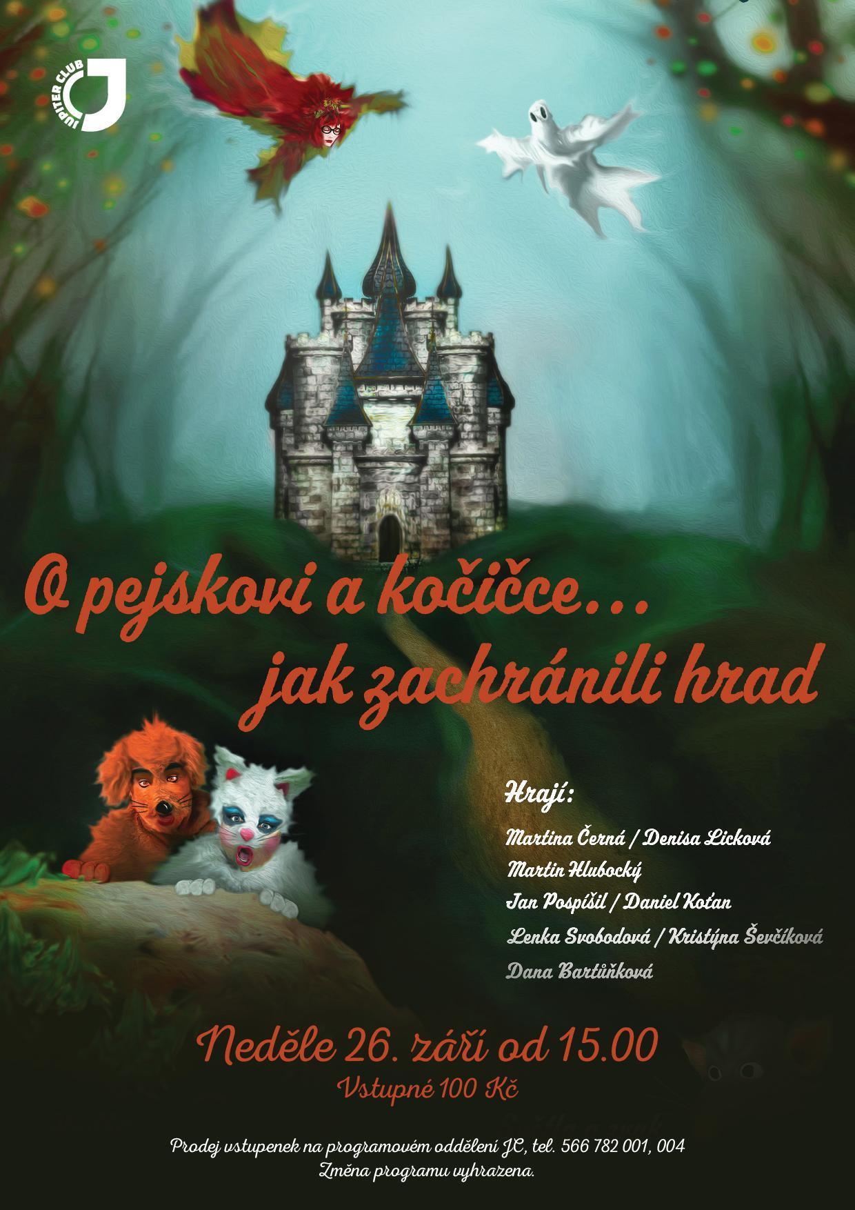 A4 poster pejsek kocicka hrad